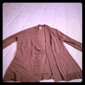 Brown heathered open cardigan